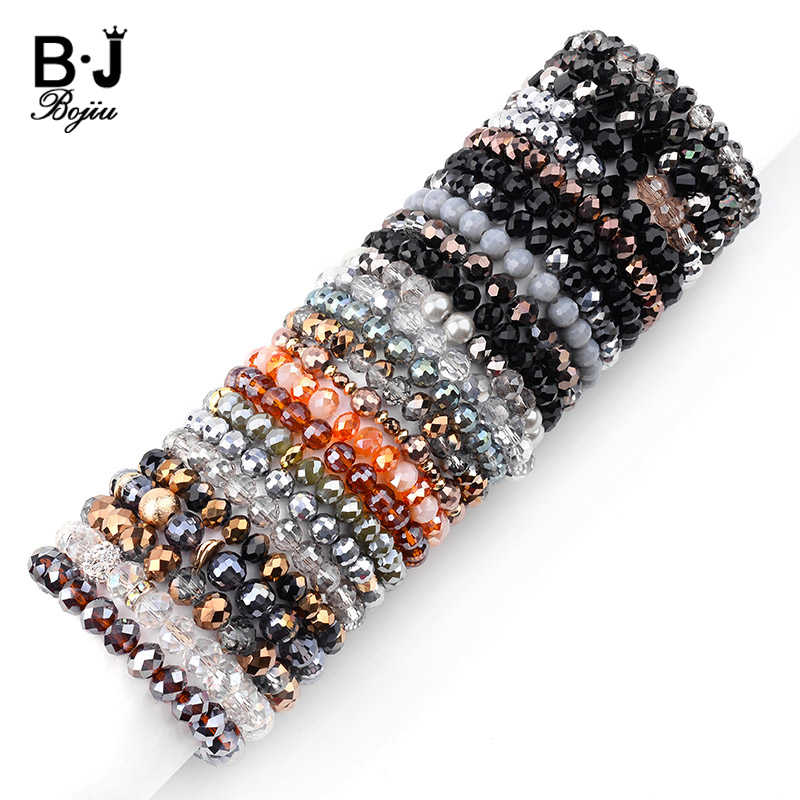 BOJIU 26 Colors Elastic Faceted Crystal Beads Bracelets For Women Gold Silver Black White Purple Yelllow Clear AB Bracelet BC282