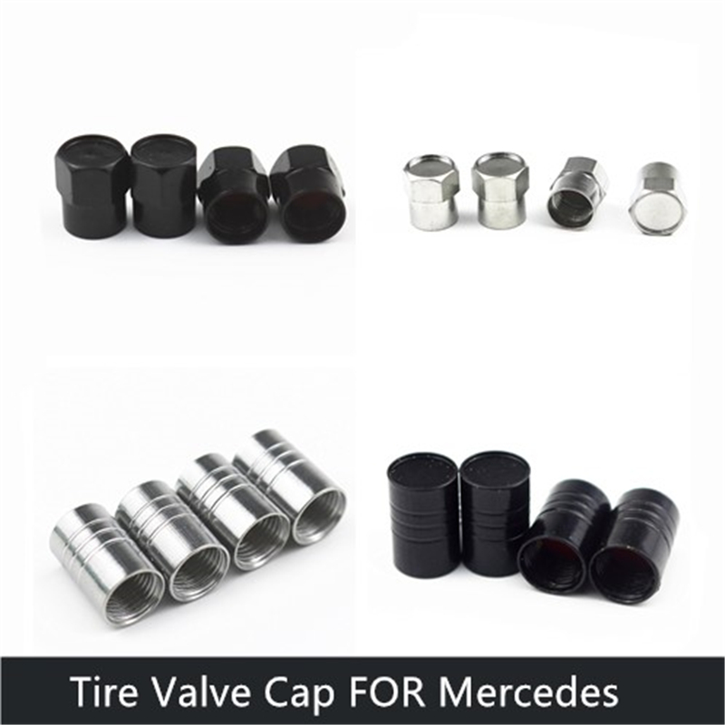 car accessories <font><b>Chrome</b></font> Metal Wheel Tire Valve Caps Stem Air For <font><b>Mercedes</b></font> Benz W211 W203 W210 <font><b>W124</b></font> AMG W202 CLA W212 W220 image