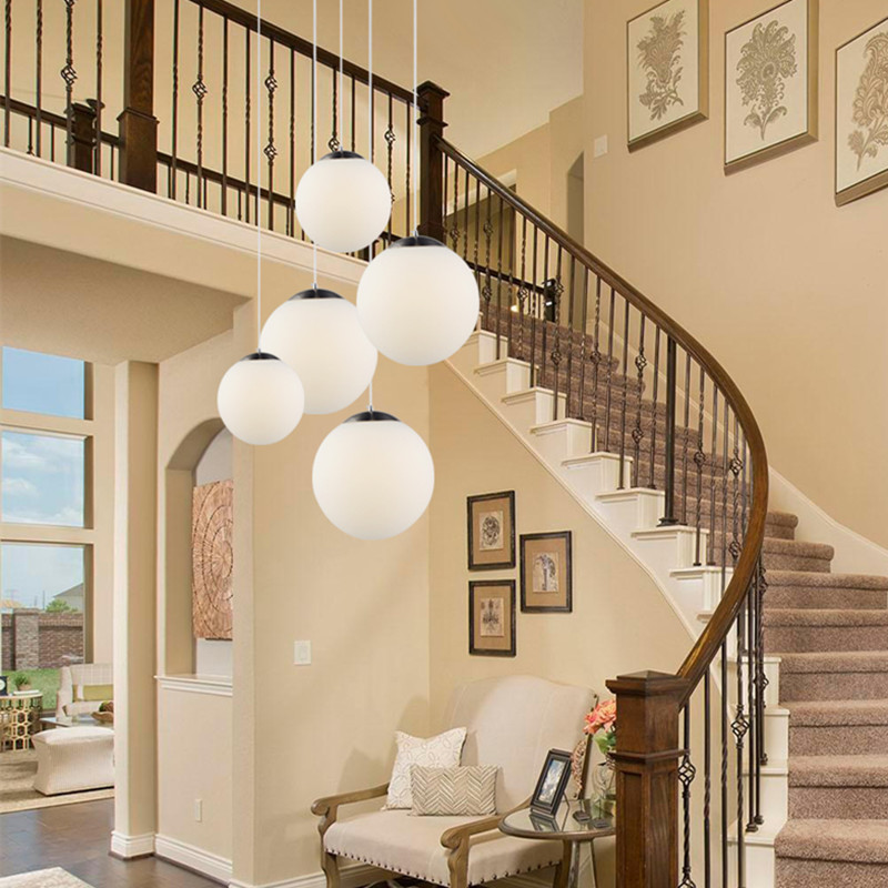 Modern White Glass Globe Pendant Light Mall Bedroom Milk Ball Round Global Suspension Light Industrial LED Lighting Fixtures
