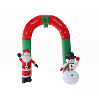 Christmas Decorations 8' Tall Airblown Inflatable Arch Stand With Santa Claus And Snowman Yard Art Decor