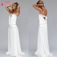 Vintage 1920s Beach Wedding Dress Cheap Dropped Waist Bohemian Wedding Gowns Backless Boho Bridal Gowns Lace Ribbon JQ274