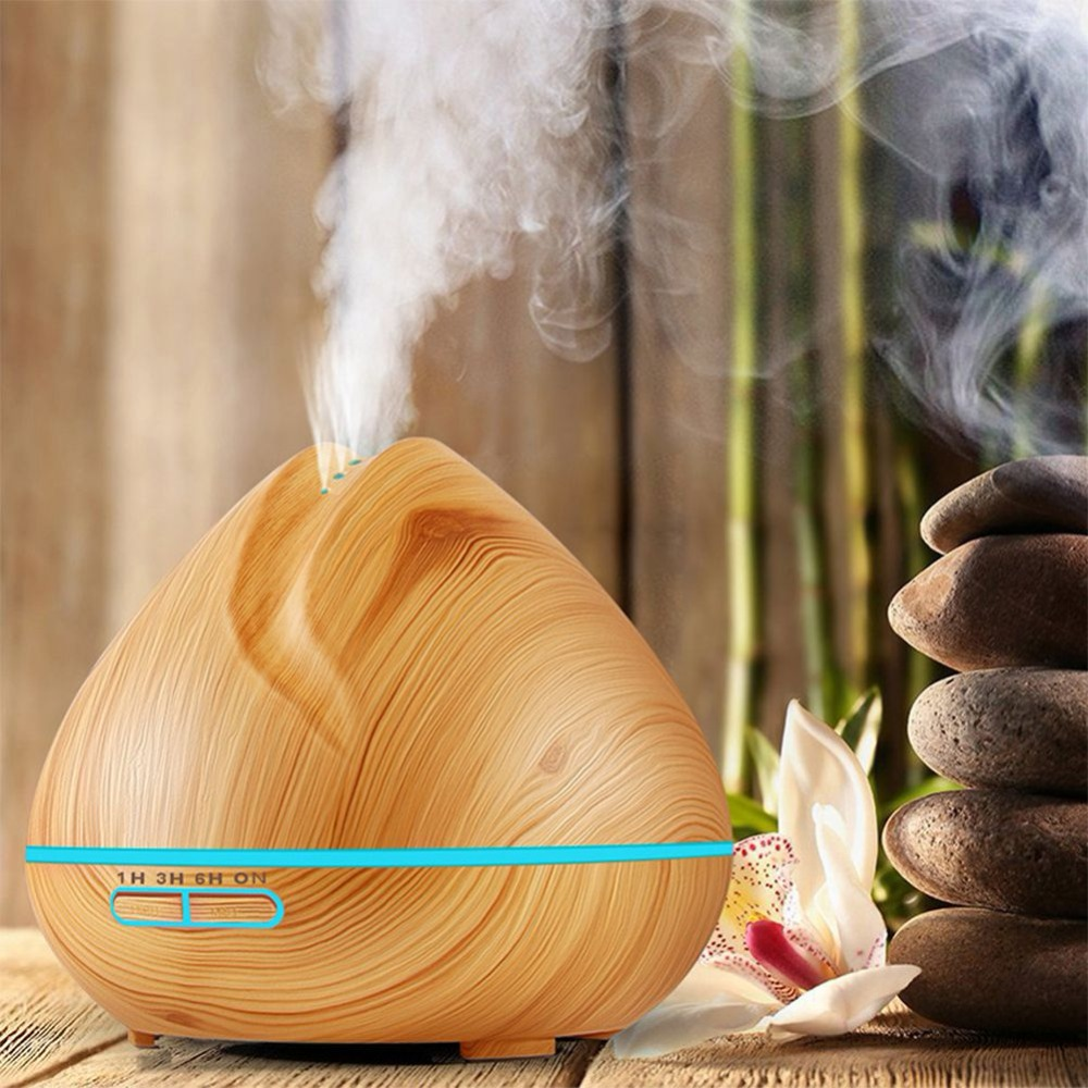 400ml Aroma Essential Oil Diffuser Ultrasonic Air Humidifier Wood Grain 7 Color Changing LED Lights for Office Home Bedroom