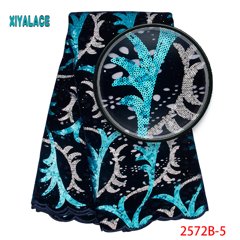 African Lace Fabric 2019 High Quality Lace Embroidery African Velvet Lace Fabric Sequins Fabric For Nigerian Wedding 2572b