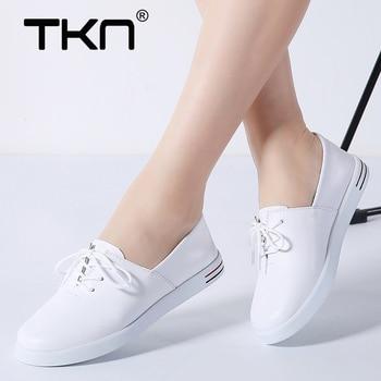 eed533b5b31 2019 primavera de las mujeres zapatillas de deporte zapatos de cuero  genuino zapatos planos dama Tenis Femenino Mujer plana zapatos de Mujer  zapatos ...