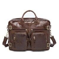 Брендовые Кожаные мужские сумки моды многофункциональный трехмерный сумка первый слой кожи большая емкость мужские сумки