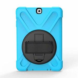 Image 3 - Für Tab EINE SM T550 Kinder Safe Stoßfest Heavy Duty Silikon Hard Case Für Samsung Galaxy Tab EINE 9,7 T550 t555 Hand halten