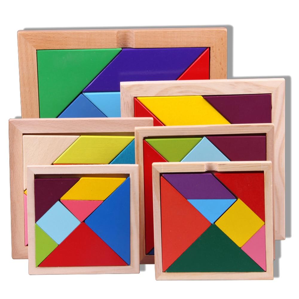 7 шт. DIY головоломки квадратный игрушки детские деревянные развивающие игрушки Геометрические головоломка Танграм игрушки детские деревян...