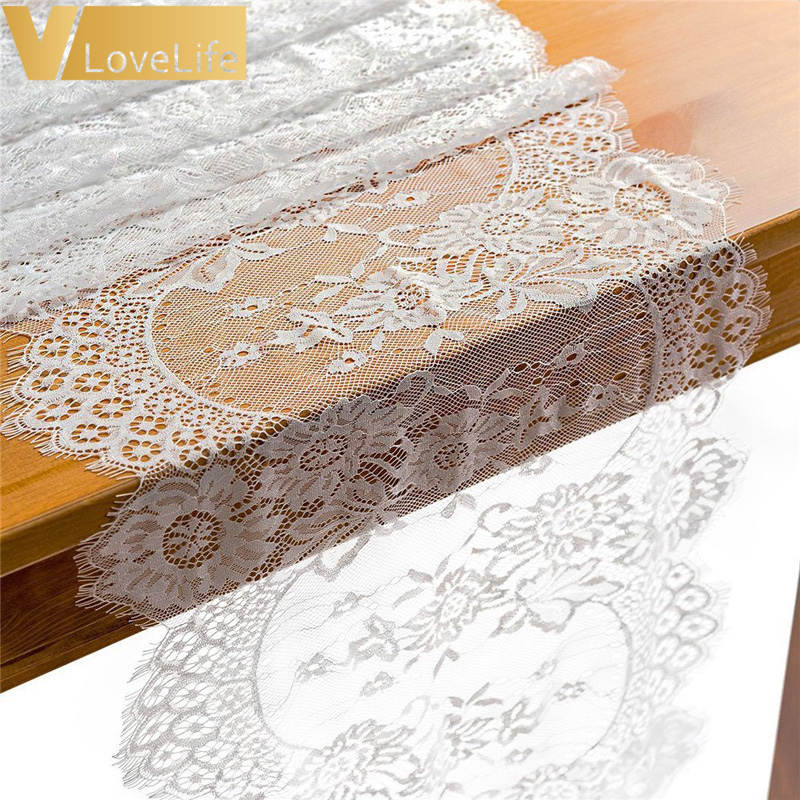 14 x 120 inches White Lace Table Runner Rustic Chic Wedding Reception Table Decor Boho Party Decor Baby&Bridal Shower Decor