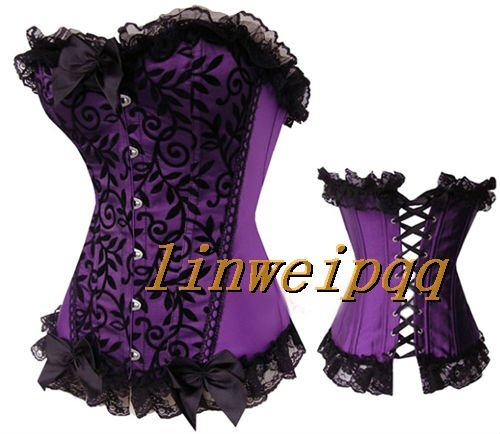 2 Colors sexy lingerie Purple sexy lingerie Lace Up   Bustiers   &   Corsets   W812 S--XXL