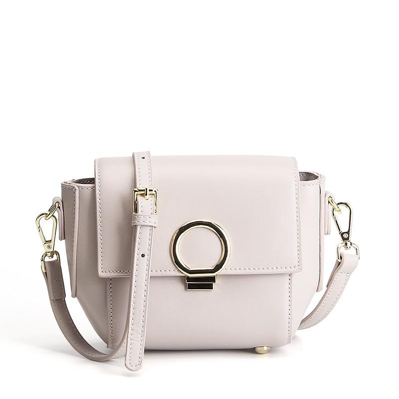 цены  Women bag 2017 new genuine leather handbags fashion tide simple metal ring buckle cowhide women shoulder Messenger bags female