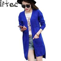 Iftec 2018 Sale Fashion High Quality Cashmere Long Cardigan Women V Collar New Design Genuine Goods