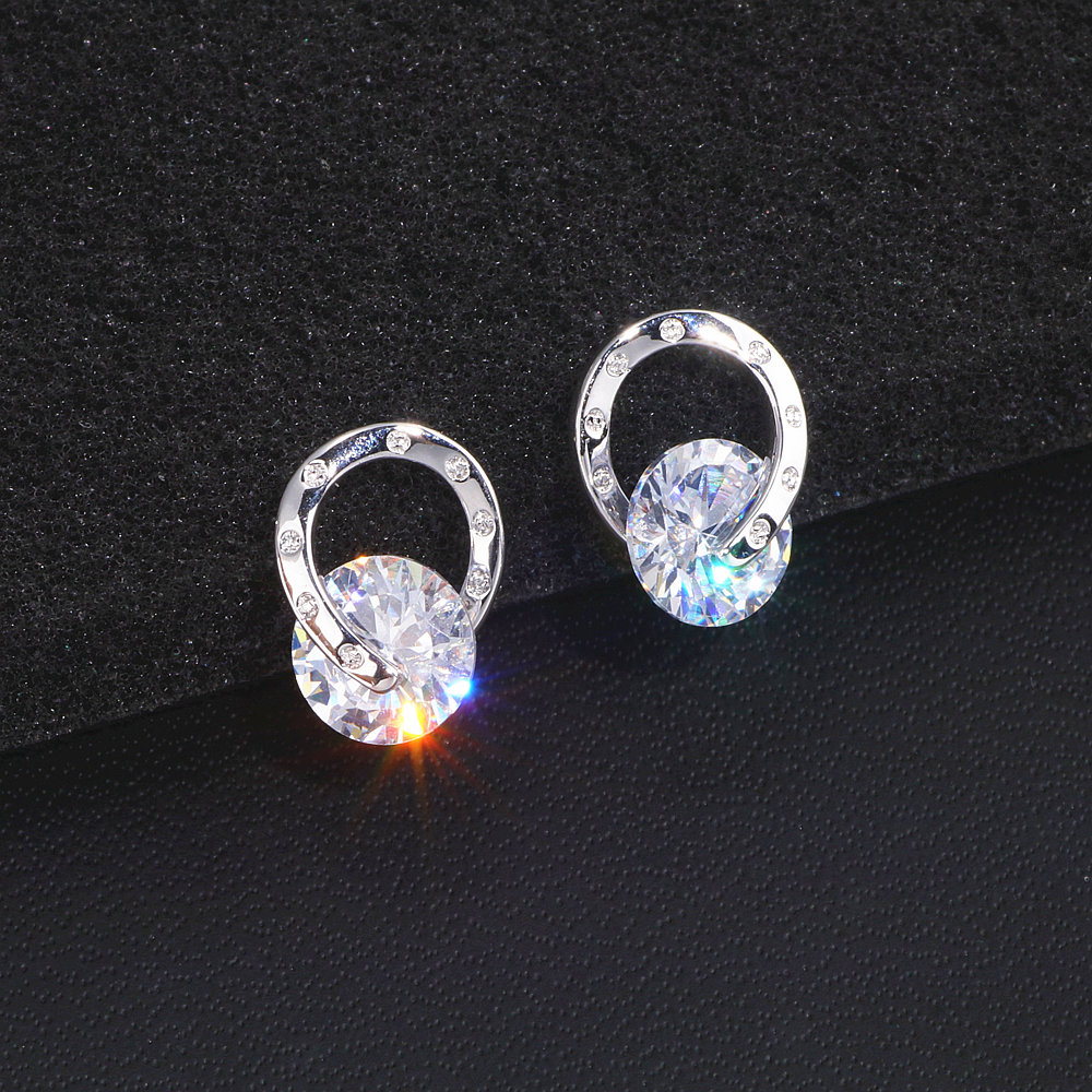 2020 Trendy OL Style Simple Cubic Zirconia Stud Earrings For Women Girls Trendy Romantic Lovely Crystal Earrings WX190