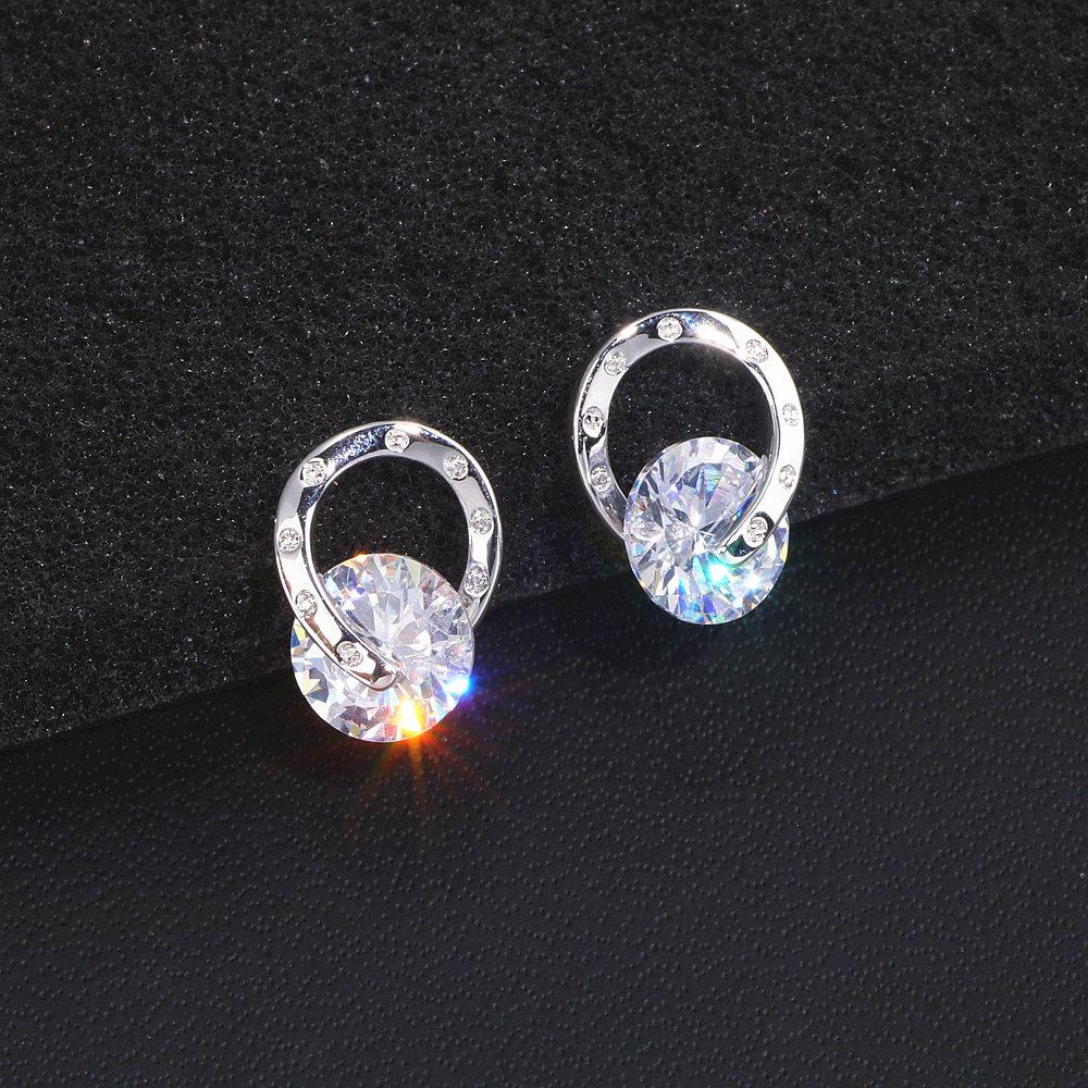 2020 Trendy OL Style Simple Cubic Zirconia Stud Earrings For Women Girls Trendy Romantic Lovely Crystal Earrings WX190