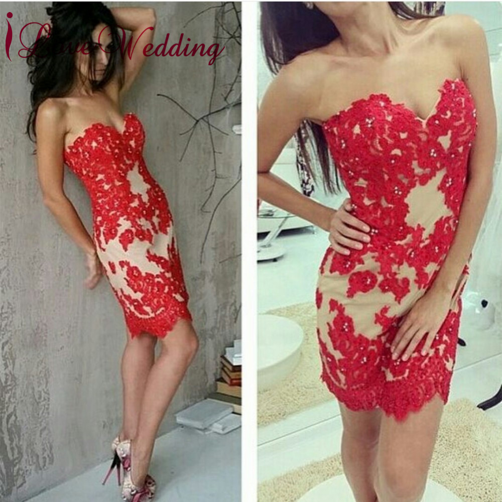 Hot Sale 2019 Sweetheart Red Lace Applique Beaded Custom made Sleeveless Mini   Cocktail   Party   Dresses