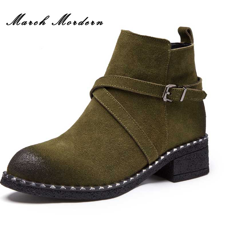 March Mordern Winter Boots Women Square Med Heel Women Boots Sexy Ladies Stretch Fabric Fashion Boots Low Heels Ankle Boots