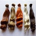 1 pçs/lote retail nova chegada 25 cm boneca bjd peruca de cabelo cabelo diy marrom loiro encaracolado sintético