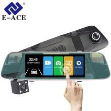 E-ACE Auto DVR 7.0 Pollici Touch Dash Cam Specchio Video Recorder FHD 1080 P Macchina Fotografica Doppia Lente con Videocamera vista posteriore Auto registrator