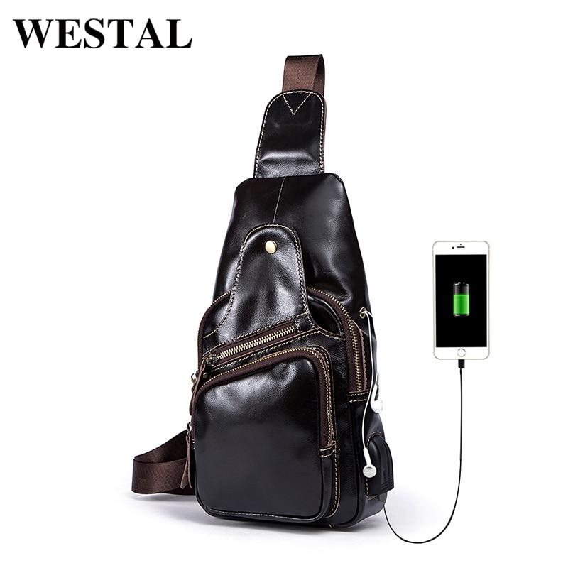 WESTAL Messenger Bag hommes épaule en cuir véritable sac à bandoulière hommes poche poitrine sacs sangle unique noir bandoulière hommes sacs 8123