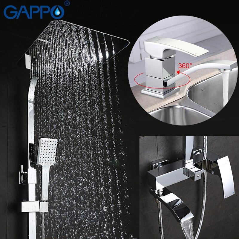 GAPPO bagno doccia rubinetto set vasca da bagno rubinetto miscelatore rubinetto cascata doccia a parete testa doccia Rubinetto Del Bacino set GA4507 + GA2407