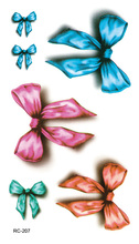 RC2207 Waterproof Temporary Tattoo Stickers Colored Bow Design Fake Tattoo Sexy Wrist Bare Feet Water Transfer Tattoo Decals