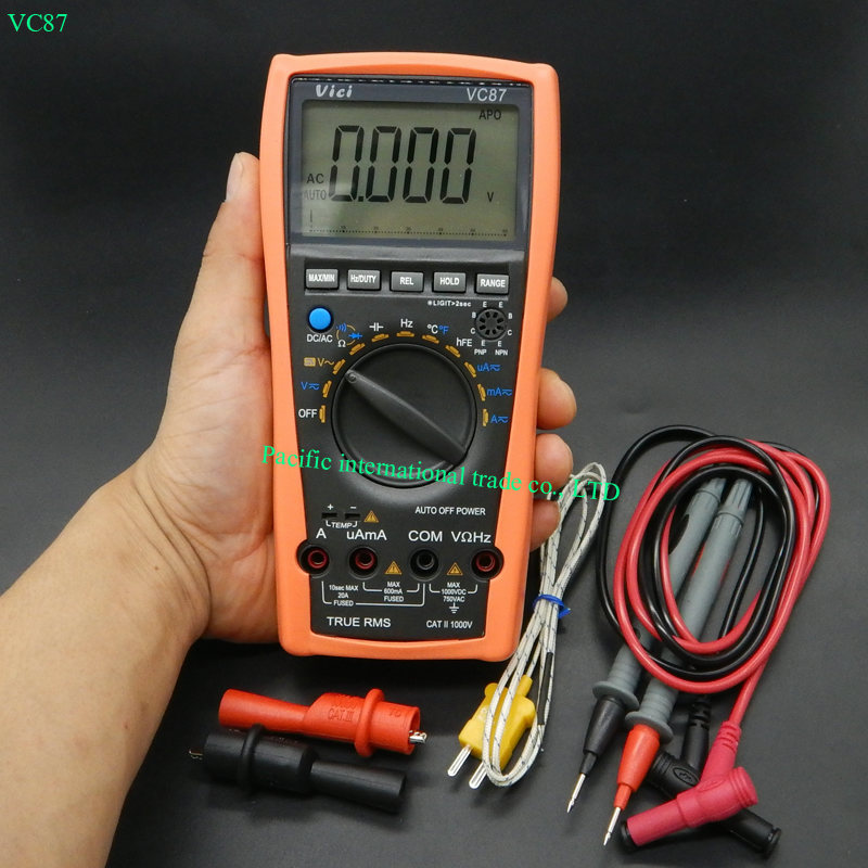 Digital Tester Multimeter Resistance AC DC Ohm Hz C 6000 Count Voltmeter DMM for Motor Drives w/ Frequency Capacitance VC87 мультиметр multimeter 5818 ac dc w