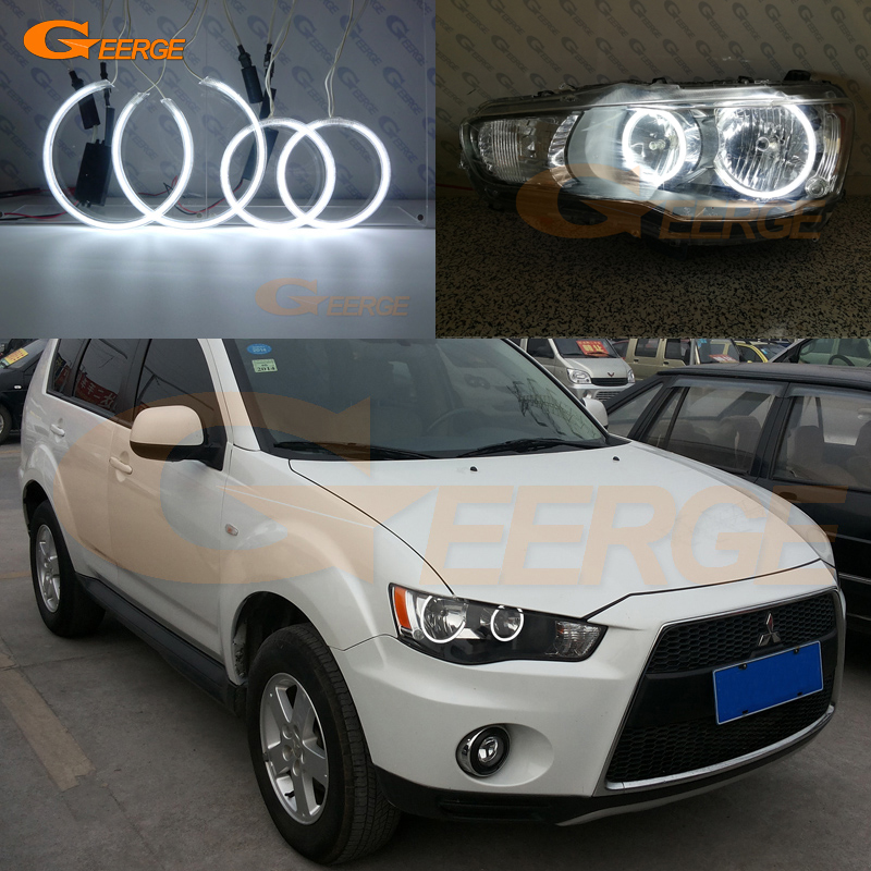 For Mitsubishi Outlander 2010 2011 Halogen headlight Excellent Ultra bright illumination CCFL Angel Eyes kit halo rings free shipping super bright ccfl angel eyes halo rings kit for bmw e83 x3 auto headlight 4 rings 2 waterproof inverters page 7