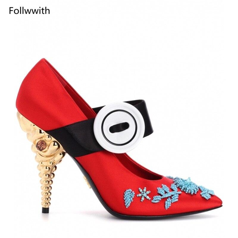 Nueva Mujer Pic Puntiagudos Lujo De Fiesta Azul Mujeres Tacones 2018 Satén Dorados Pista Negro Con Pic Adornado Cristal Boda Zapatos as Bombas Rojo As dwqxwgHTO