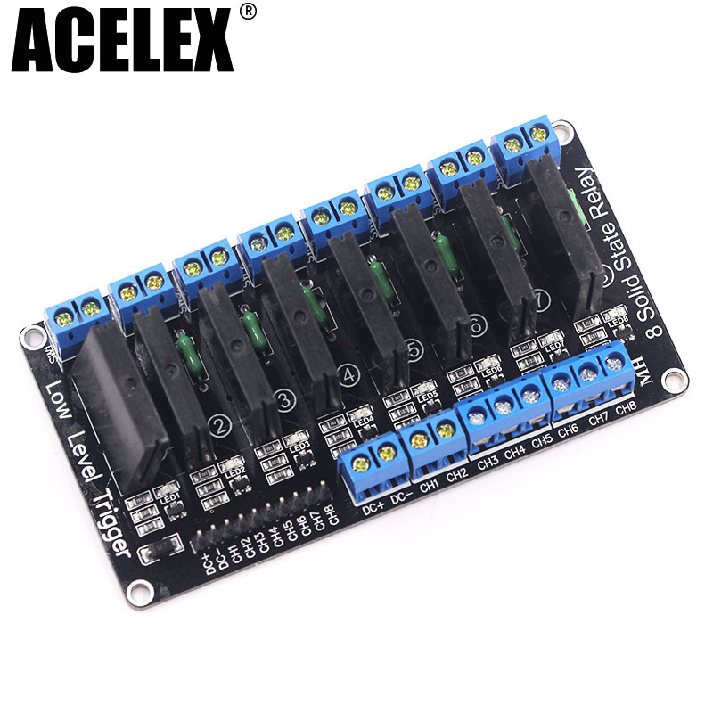 8 Channel 5V DC Relay Module Solid State High / Low Level SSR AVR DSP 2A 240V 10pcs tx2sa 5v relay telecom dpdt 2a 5v