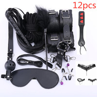 9/12PCS sex women sex game couple leather mask sex handcuffs toys for woman sexy tools toys sex bdsm slave toy nipple bell