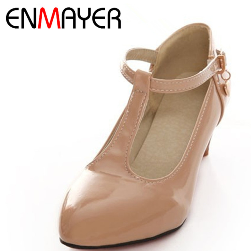 ENMAYER Sweet T-strap Women Pumps Large <font><b>Size</b></font> 34-43 Pointed Toe Women Shoes <font><b>5</b></font> Colors Solid Girls Shoes <font><b>Patent</b></font> Concise <font><b>Nude</b></font> Shoes