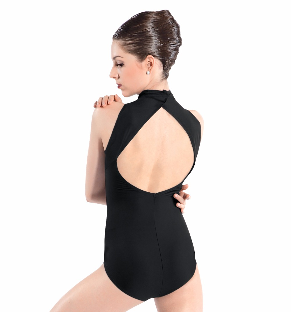 Adult Mock Turtleneck Tank Leotard For Girls Gymnastics Leotards Open Back Womens High Neck Ballet Dance Leotards Sleeveless