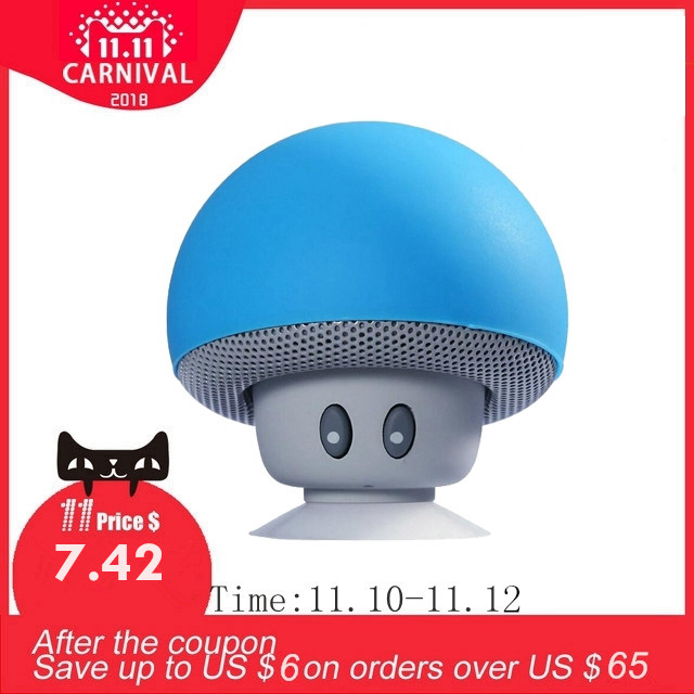 New Plastic Bluetooth Speaker 3W Mini Mushroom Loudspeaker Super Bass 3D  Sound Music Box Speaker With Mic Sucker As Phone Holder