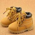Zapatos de los niños Niñas Botas de Invierno 2016 de Suela Suave Caliente de la Felpa niños Botas de Chica de Moda Lace Up de Cuero de LA PU Niños Botas Martin