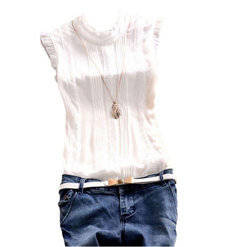 Ретро Стиль Для женщин reffle рубашка Шифоновая блузка Офисные женские туфли Повседневное летний топ