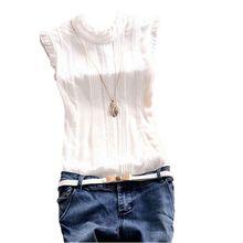 Retro Style Women Reffle Shirt Chiffon Blouse Office Lady Casual Summer Top