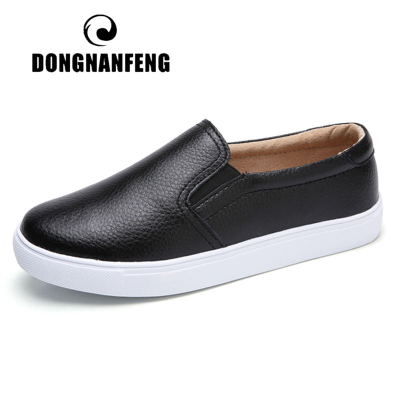 DONGNANFENG Women Ladies Female Gril Genuine Leather White Shoes Flats Platforn Sneakers Slip On Soft Vulcanized Shoes ZQMF-960