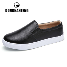 DONGNANFENG Women Ladies Female Gril Genuine Leather White Shoes Flats Platforn Sneakers Slip On Soft Vulcanized ZQMF-960