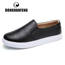 Dongnanfeng Vrouwen Dames Vrouwelijke Gril Lederen Witte Schoenen Flats Platforn Sneakers Slip Op Zachte Gevulkaniseerd Schoenen ZQMF 960