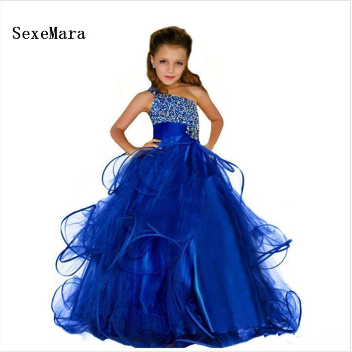 Elegant Royal Blue 2019 Shiny   Girls     Dress   Beading Crystals Puffy Organza Birthday   Dress   Kids Pageant Gown Custom Made Size