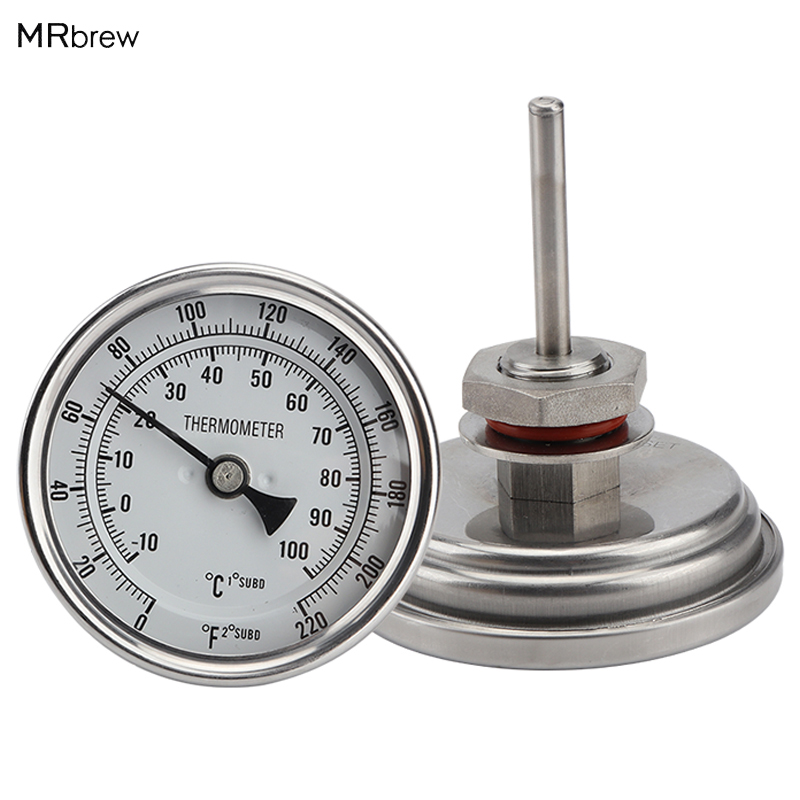Weldless Bi-metal Thermometer Kit, 3Face & 2Probe, 1/2MNPT, 0~220F degree, Beer Brewing Thermometer, Homebrew Kettle