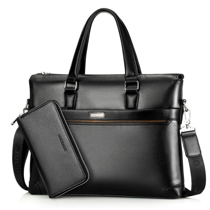 Casual Men Briefcase Pu Leather Men Bags Laptop Office Shoulder Bag Large Capacity Male Briefcases Purse WBS503