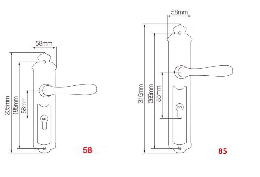 Толщина двери 35 55 мм дверная ручка латунный замок с замком