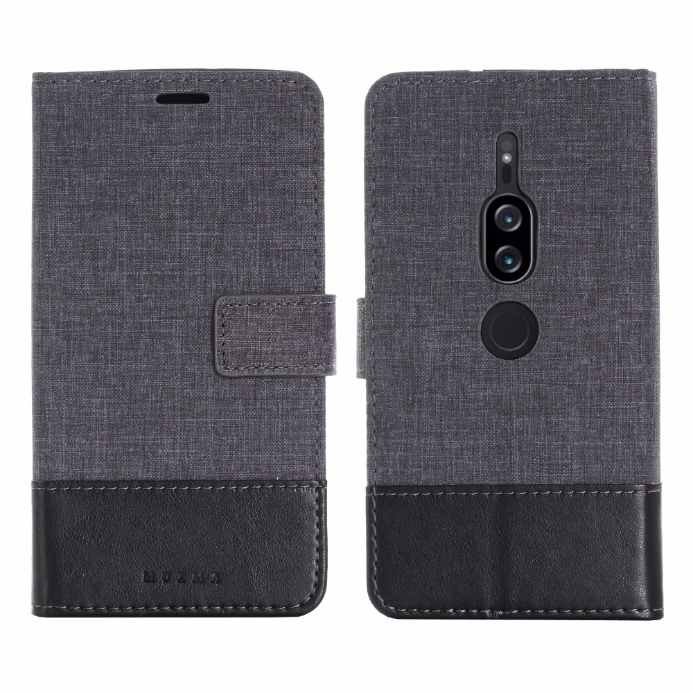 For sony xperia XA2 Ultra Case Canvas Leather Cover For Sony