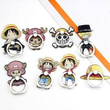 360 Graus titular Anime Chapéu de Palha Luffy Sanji One Piece Stand Titular Do Telefone Móvel de Smartphones De Metal Anel de Dedo para iphone ipad(China)
