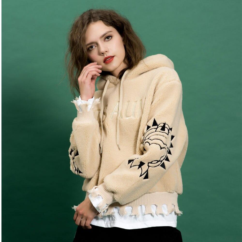Women Faux Fur Fluffy Lamb Wool Hoodie Pullovers Fake Two Piece Casual Drawstring Preppy Sweatshirt Female Thick Winter Hoodies
