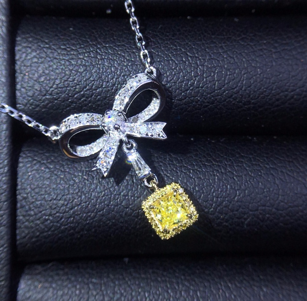 Fine Jewelry Pure 18 K Gold Jewelry AU750 G18K Natural 100% nature Yellow Diamonds 0.22ct Pendant Gemstone Necklaces for Women