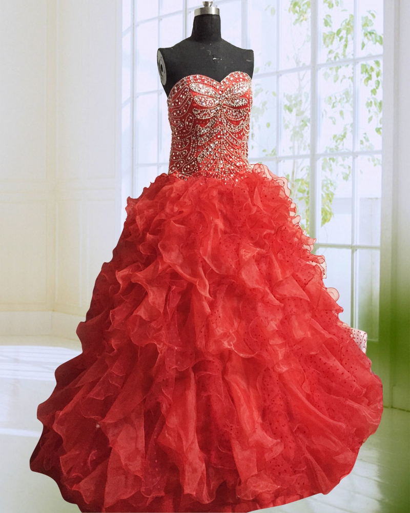 Sparking Red Crystals Quinceanera Dresses Beautiful Sweetheart Lace up Back Beaded Organza Ball Gown Girl Gala Dress Custom Made