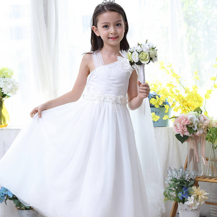 Formal Long Girls Dress for Wedding White One Shoulder Flower Girl Vestido 2017 Gilrs Clothes 3 4 6 8 10 12 14 Years RKF174035 girls champagne short front long back flower girl dress for wedding trailing formal party vestidos girls clothes 2017 skf154024