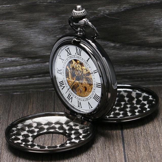 Retro Double Hunter Mechanical Skeleton Pocket Watch Luxury Gift Necklace Watche