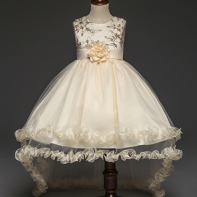 a1f52c59f Nuevo detrás de alambre de oro bordado flor chica vestido de lentejuelas de la  boda princesa
